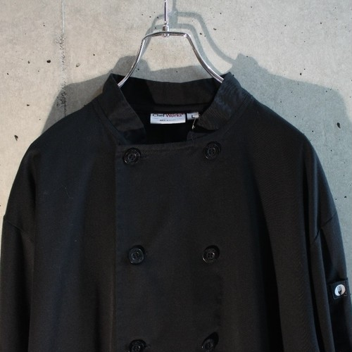 Black Cotton Poly Chef Shirt Jacket