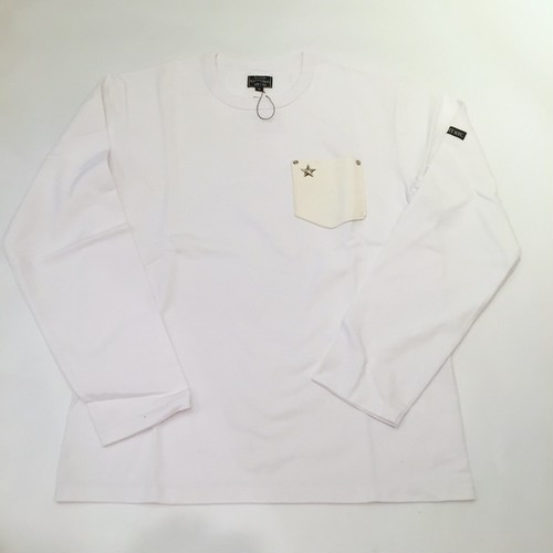 LEATHER POCKET ONE STAR L/S T-SHIRTS White