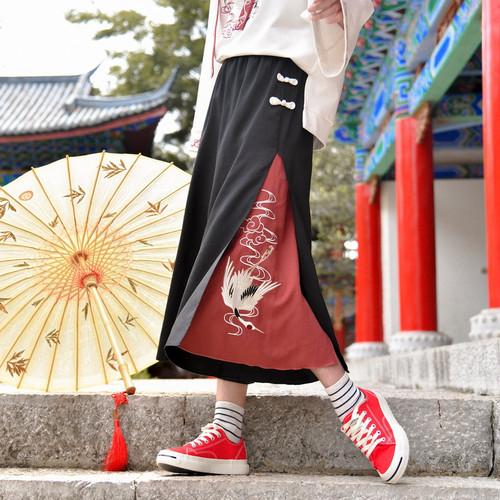 【ボトムズ】和風ファッション切り替えカジュアル合わせやすいこのパンツ