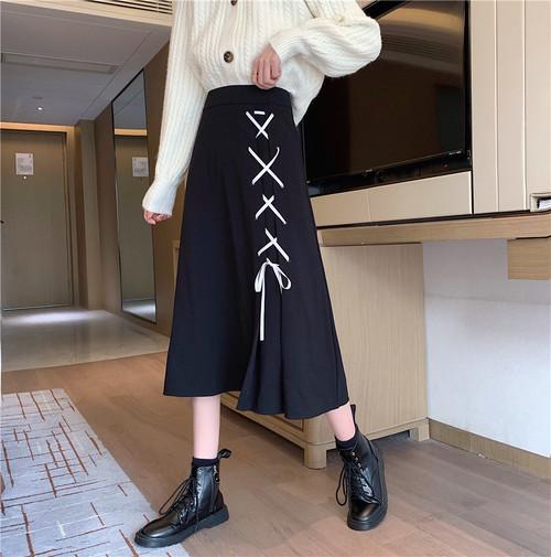 ミモレレースアップスカート ・14288