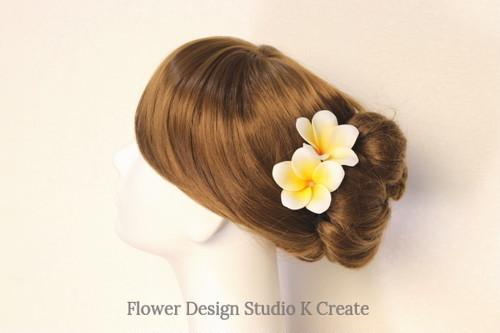 ウェディング&フラダンスに♡プルメリアのUピン(YE) イエロー 黄色 造花 ハワイ 海外挙式 髪飾り 浴衣
