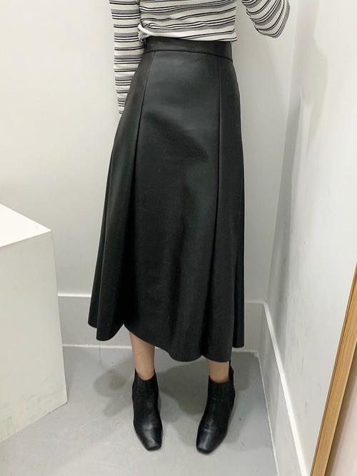 レザーAラインロングスカート ロングスカート レザースカート 韓国ファッション
