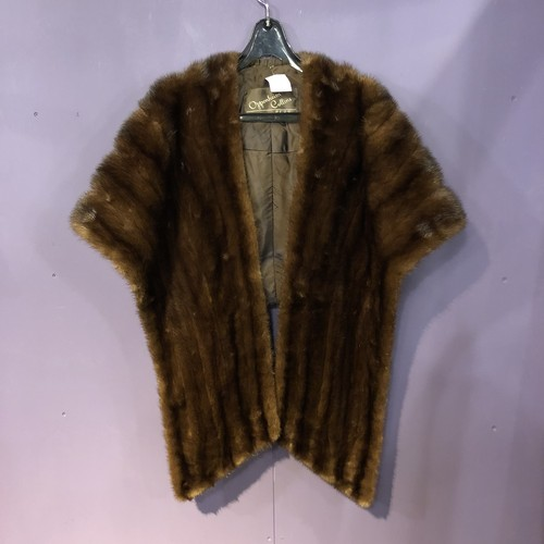 brown real fur cape [B1182]