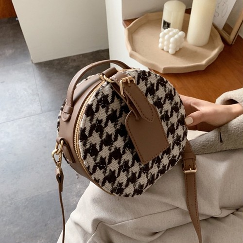 contrast leather round bag 4c's