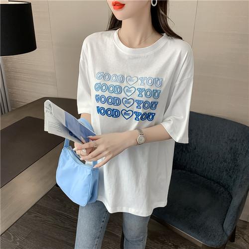【tops】大人可愛いTシャツ刺繍ラウンドネック大活躍合わせやすい