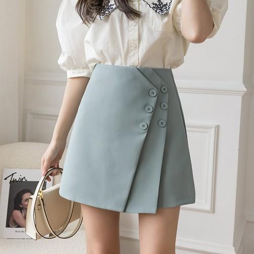 3色/フラップボタンスカート ・15102