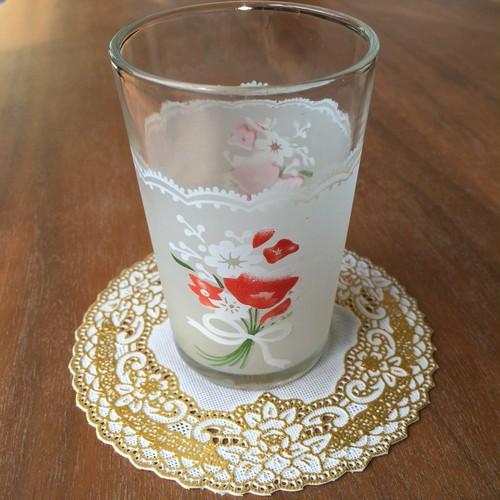 レトロ花柄グラス