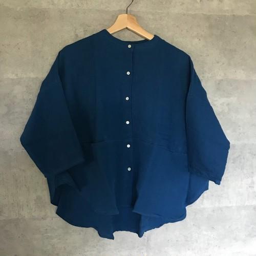 nachukara(ナチュカラ ) リネンスタンドカラーシャツBL [50012]