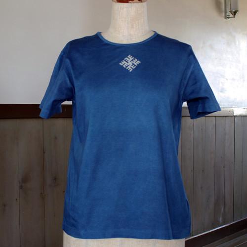 ラトビア柄藍染TシャツM(as79)