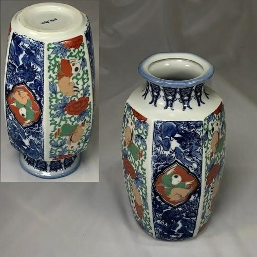 W6892萩窯唐子六角花瓶