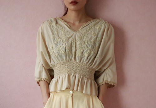 Beige embroidery tops