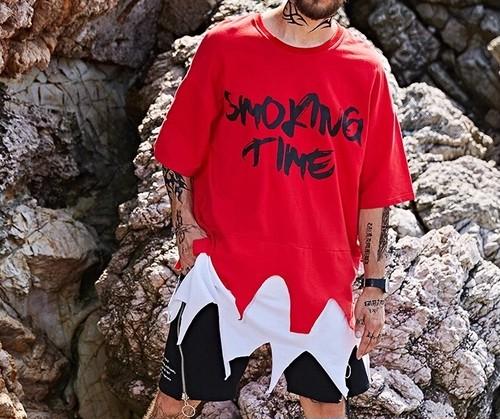 [クール]SmokingTimeビックサイズレッドTシャツ