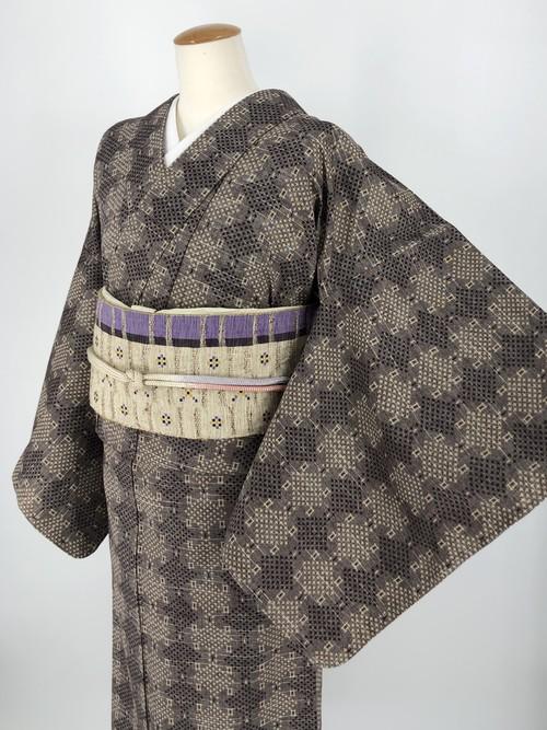 小紋 単衣着物 着物 きもの カジュアル着物 仕立て上がり 送料無料 リサイクル着物 中古 身丈161cm 裄丈65cm