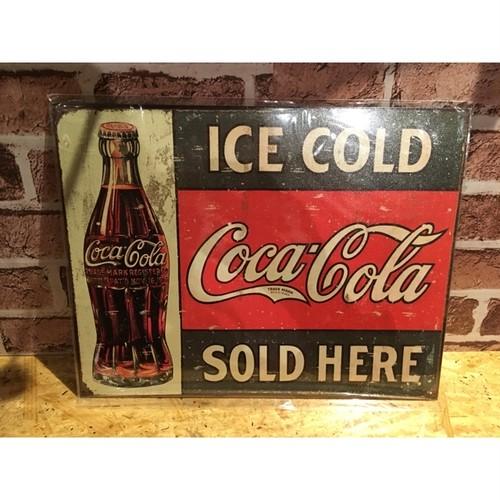 USブリキ看板「コカコーラ・アイスコールド」