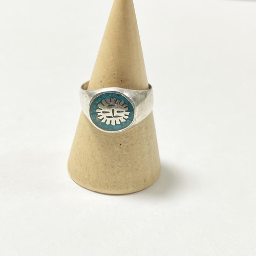 Vintage 925 Silver Sunface Inlaid Crushed Turquoise Ring Made In mexico