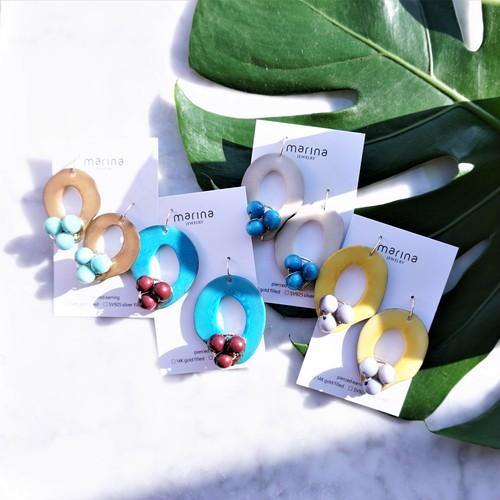 送料無料Turquoise x Wine Tagua Nuts pierced earring / earring