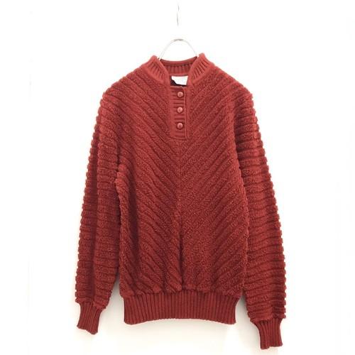 Red Pile Knit Button Up Pullover / パイルニットプルオーバー