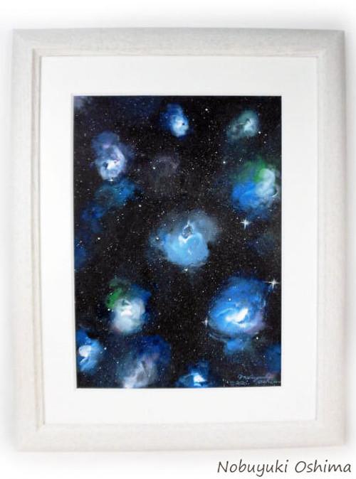 オリジナル絵画(アクリル画)「Space Paint(2020-03)」原画 額装品【手描き/宇宙・銀河・星雲・星・美術品・アート・インテリア】