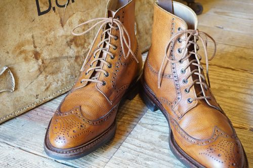 "Ralph Lauren wing-tip pebble grain Boots ""Made in ENGLAND"""