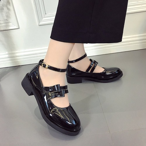 【pumps】Korean retro  college round head low heel pumps