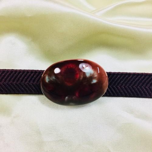 アンティーク 九谷焼 ブローチ 帯飾り  帯留 金具付き 和小物