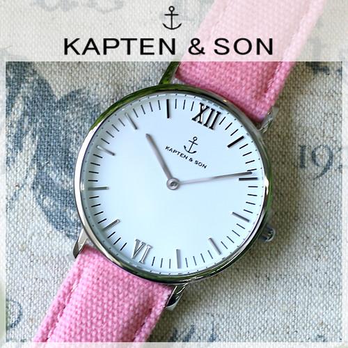 キャプテン&サン KAPTEN&SON 36mm ホワイト/ピンクキャンバス レディース 腕時計 SV-KS36WHPC  ホワイト