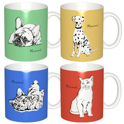 オリジナルオーダーメイドマグカップ作成・犬猫、ペットの名入れ&似顔絵/ラフタッチポップアートイラスト2