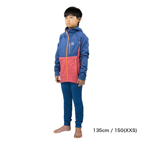Kids 130 / UN3100 Mid weight fleece hoody / Navy : Red