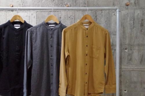 Flannel bandcollar shirt