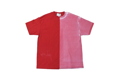 "EZ DO by EACHTIME. ""BLEND TEE""  RD/WH"