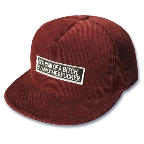 "Corduroy cap BURGUNDY ""49%SON OF A BITCH 51%MOTHERFUCKER"""