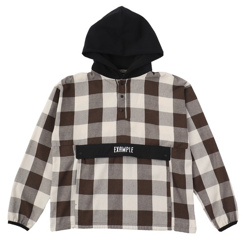 EXAMPLE HALF BUTTON BUFFALO CHECK PULLOVER L/S SHIRT / BROWN