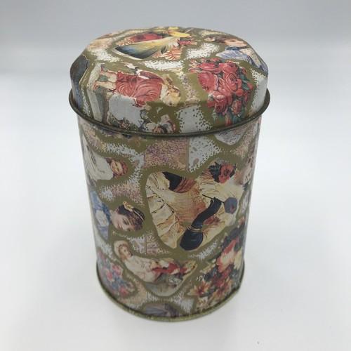 イギリス ヴィンテージ缶 貴族 花 羽 柄