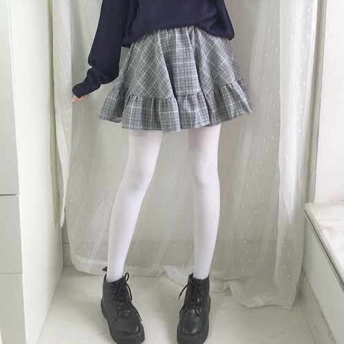 【即納】グレンチェック フリル ミニスカート 2色