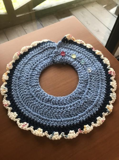 手編みスタイ(ブルー)