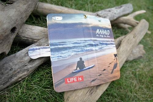 LIFE is 手帳型スマホケース(マハロビーチ)各iPhone Plus、Android(L)用 送料無料!