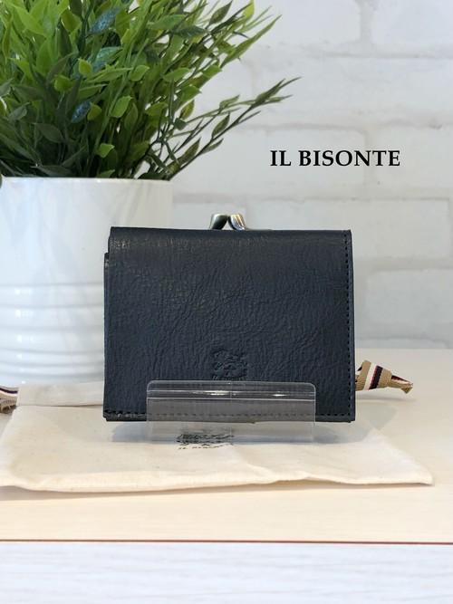 【2021SS新型】IL BISONTE/ガマ口三つ折り財布/04340(ネイビー)