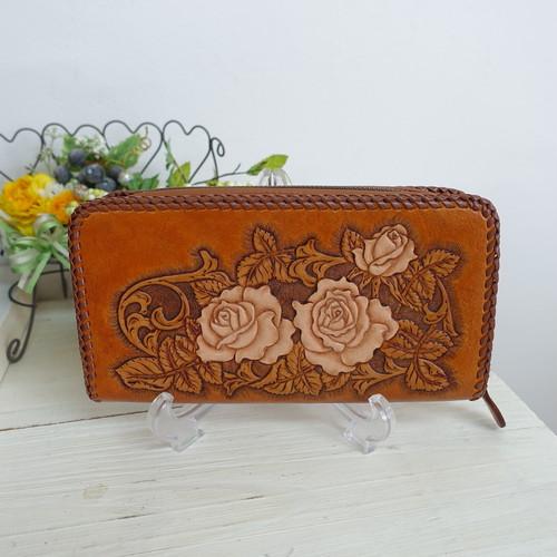 BAGみたいにサマになるバラのカービングのお財布(送料無料)