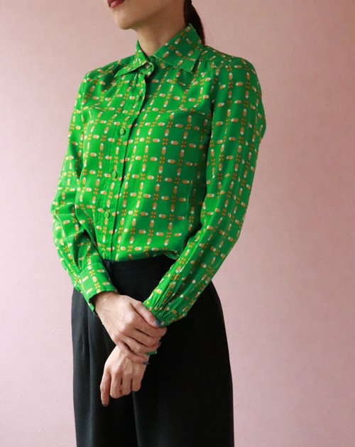 Christian dior green blouse