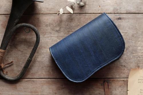 藍染革[migaki]二つ折り財布 【墨縞】