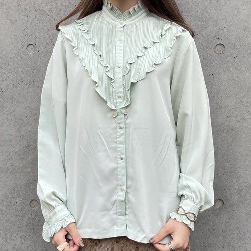 (LOOK) frill stand collar blouse
