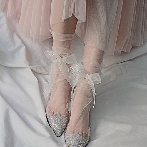 ribbon tulle socks 5color