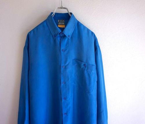 1990's [OLEG CASSINI] シルクシャツ ターコイズ 表記(M)