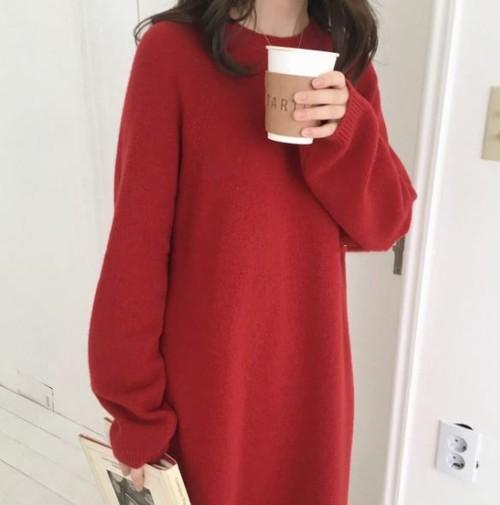 【即日発送】冬物 レディース ロングセーター ニットワンピース ロングドレス レッド 赤 柔らか ウール生地 羊毛セーター フリーサイズ