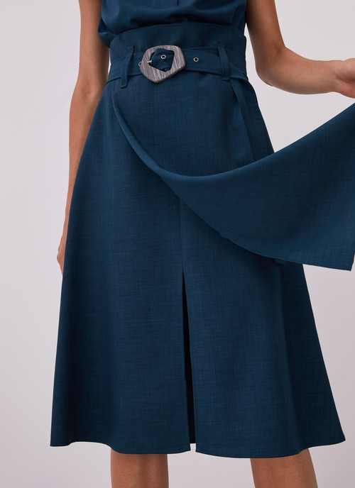 MIDI SKIRT WITH OVERLAYER AND BELT