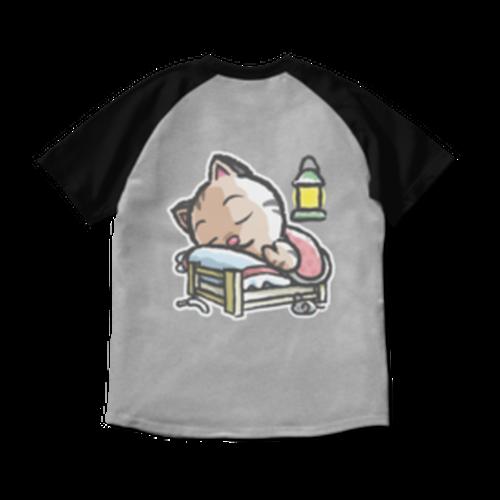 <ラグランTシャツ 杢グレー×ブラック>両面印刷 おやすみーちゃん