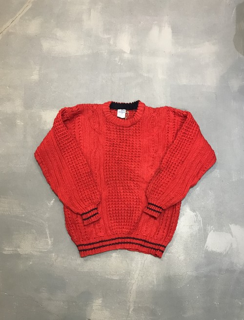 Red Aran Pull Over Sweater / Made in Ireland[O-306]