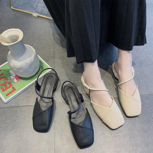 ストラップ サンダル ローヒール 韓国ファッション レディース アンクルストラップ スクエアヘッド カジュアル 痛くない 歩きやすい ぺたんこ フラット