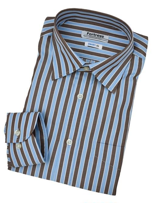 ブルー×ブラウン ストライプシャツ