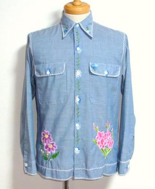 1970's BIG MAC 刺繍シャンブレーシャツ 実寸(S位)